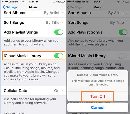 Turn off iCloud music library for disable apple music songs