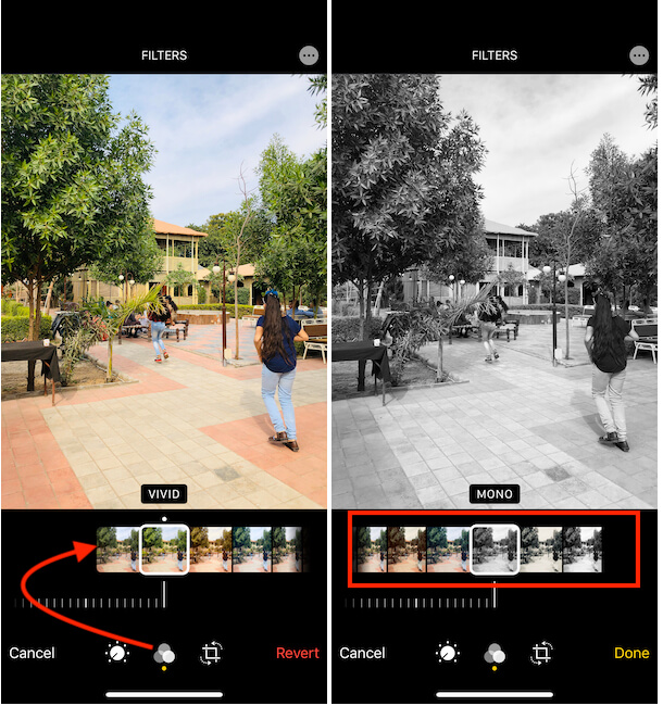 Apply Filters Effects on Photos App