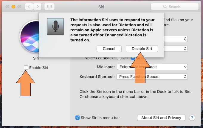 Disable siri from Mac system preference
