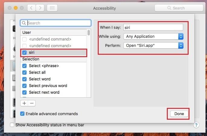 Enable hands free Siri on macOS Sierra macbook Air, macBook Pro