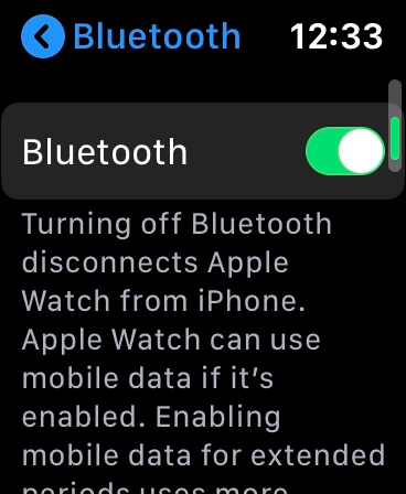 Enable Bluetooth on Apple Watch