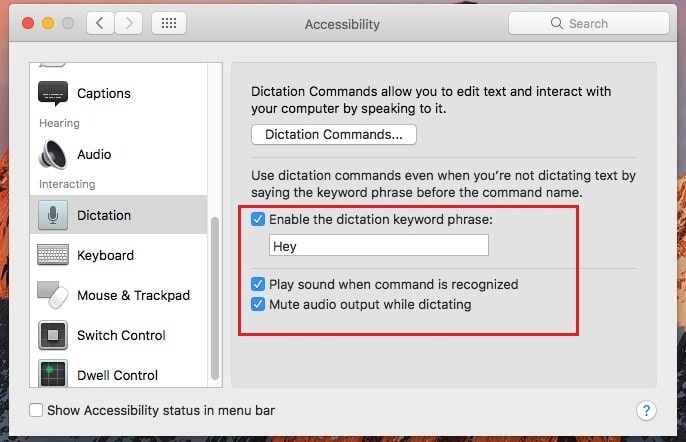 Tick check box Enable the dictation Keyboard Phrase macOS sierra