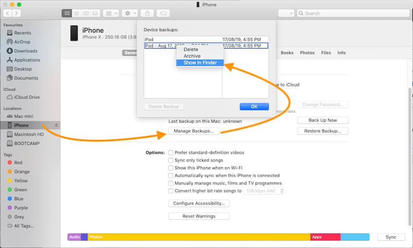 Manage iPhone and iPad Backup on Mac