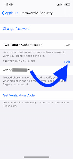 Mobile number for Two Factor Authontication
