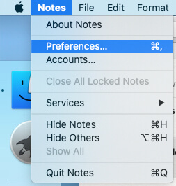 Notes Preferences settings on macbook mac