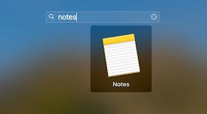 Notes app on MacBook Mac
