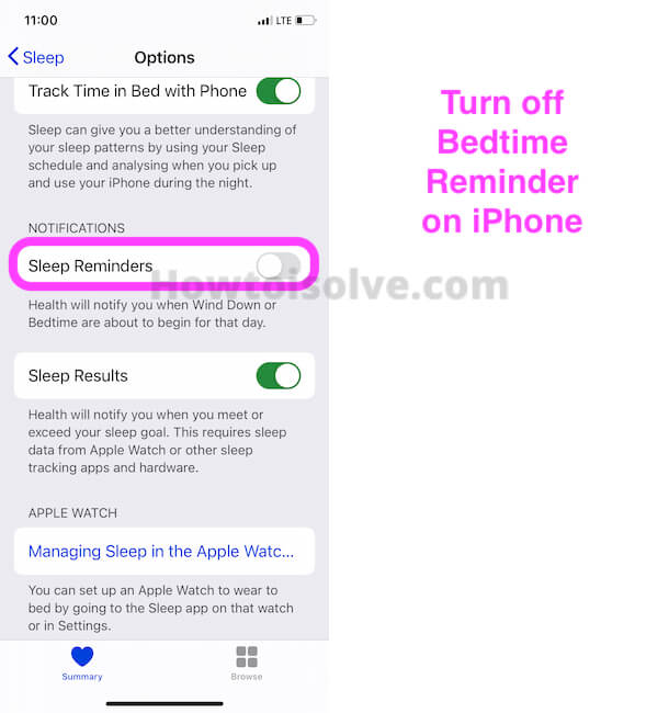 Turn off Bedtime Reminder on iPhone