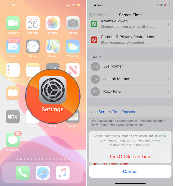 Turn off Screen Time on iPhone for Set Automatically Grayed Out