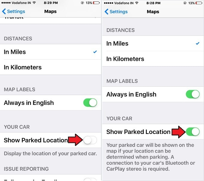 Find Parked Car in car parking in iOS 10 on iPhone