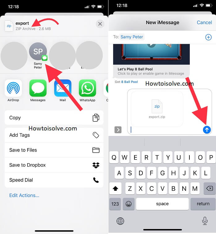 tap on any app here iahve taken imessage contact next tap on down arrow icon to send as imessage to your friend wife hubby family member