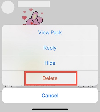 tap on delete to go next to delete sticker on Facebook post iPhone app
