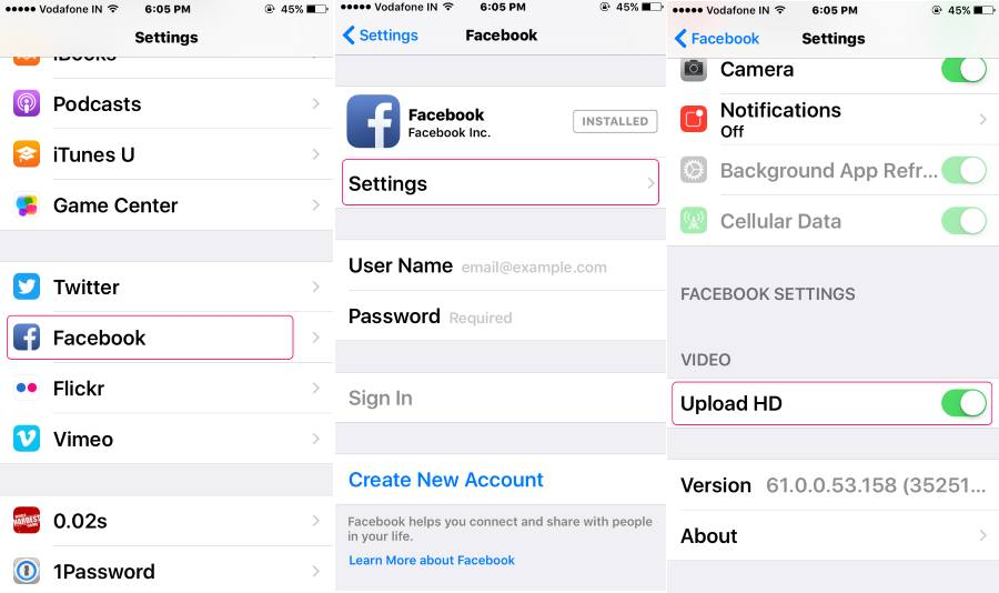 Upload HD video on Facebook from iPhone, iPad