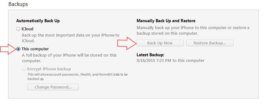 iTunes backup start from OLD iPhone