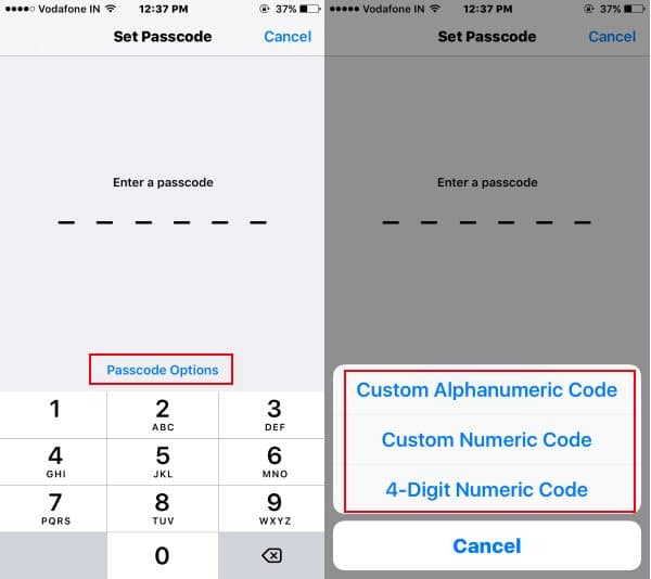 Set Passcode Security or Type on iOS