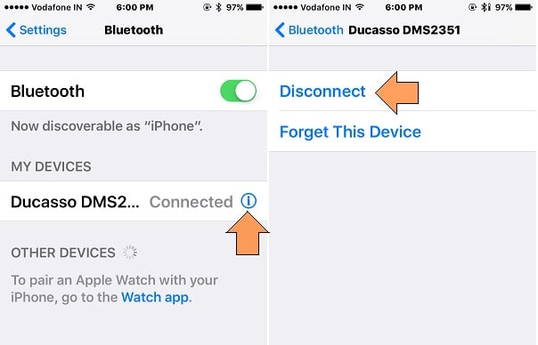 Forgot Connected Device from iOS