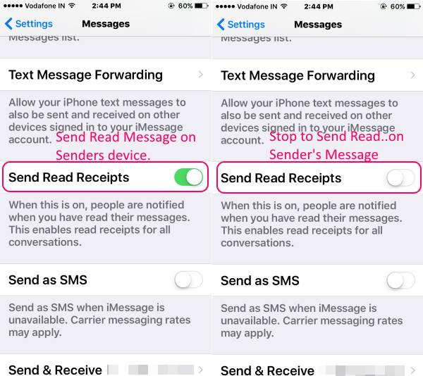 Disable iMessage send Read receipts for all