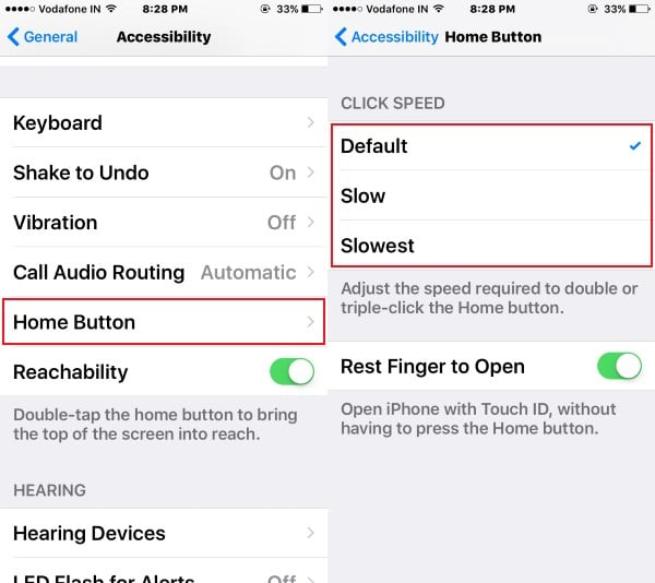 Home button speed manage in iOS 10