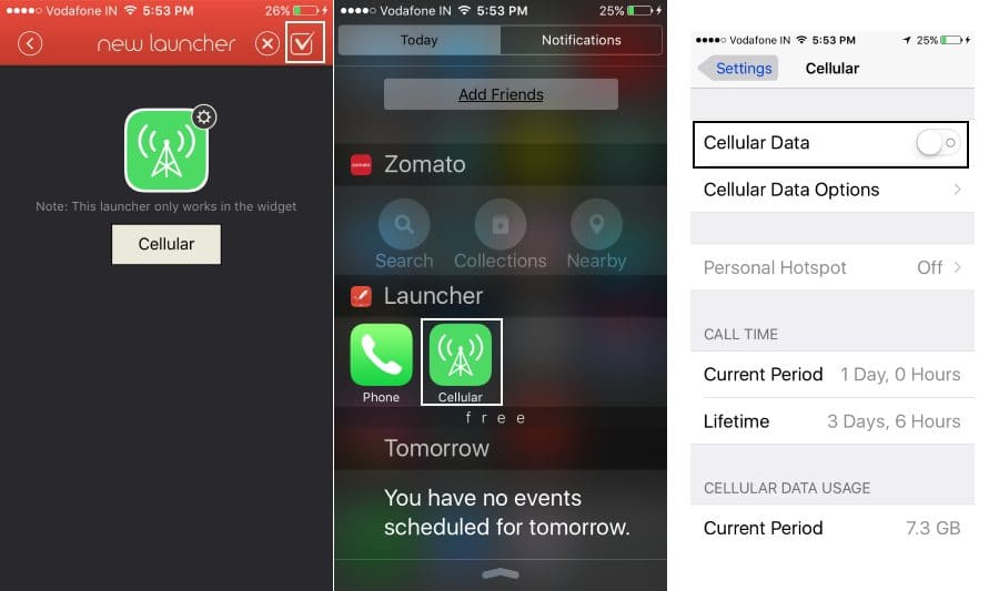 Manage Cellular Settings from Shortcuts