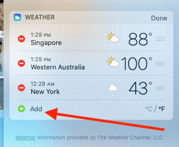 Add New City on Weather Widget MacBook Mac