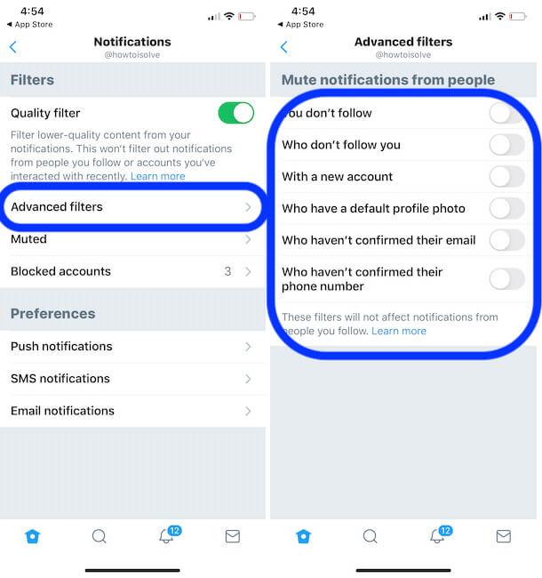 Advanced Twitter settings app on iPhone app