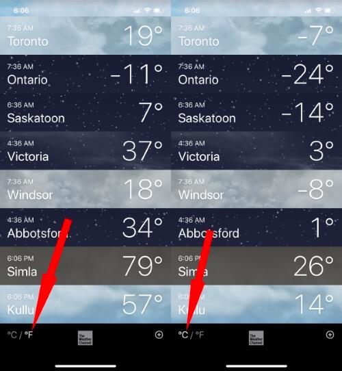Change Celcius to Fahrenheit in iPhone Weather App