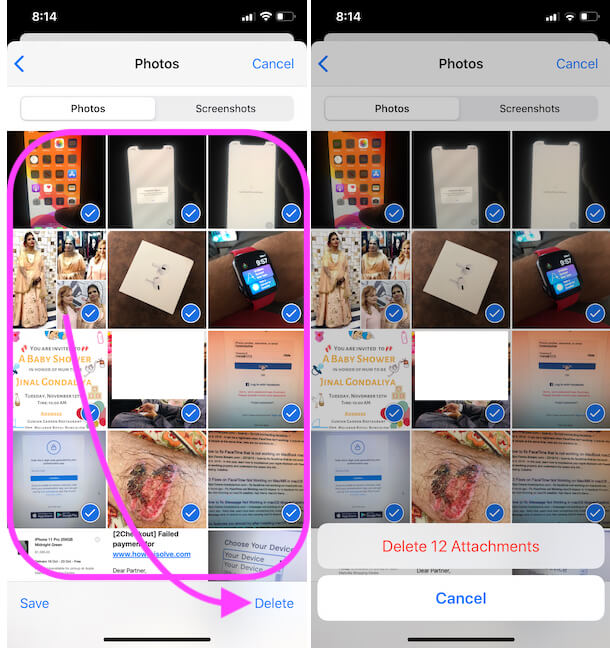 Delete Multiple Photos from Messages app on iPhone