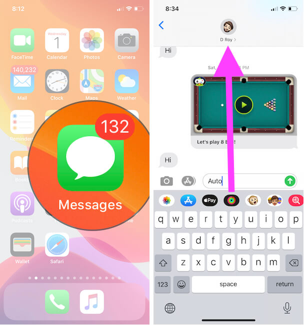 Open Messages and Conversation profile info on iPhone