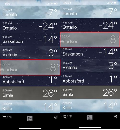 Rearrange Cities in Weather App iPhone