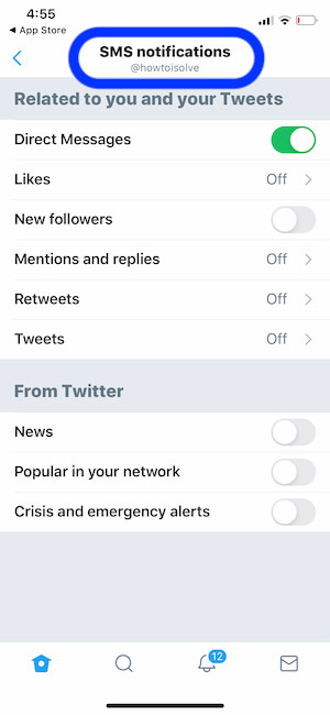 SMS Notification settings on iPhone