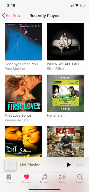 See the Recently played songs on iPhone Apple Music & Albums