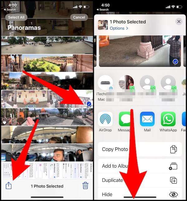 Share panorama photos from iPhone and iPad