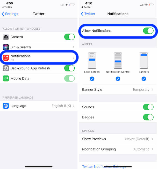 enable twitter notification from iPhone settings app