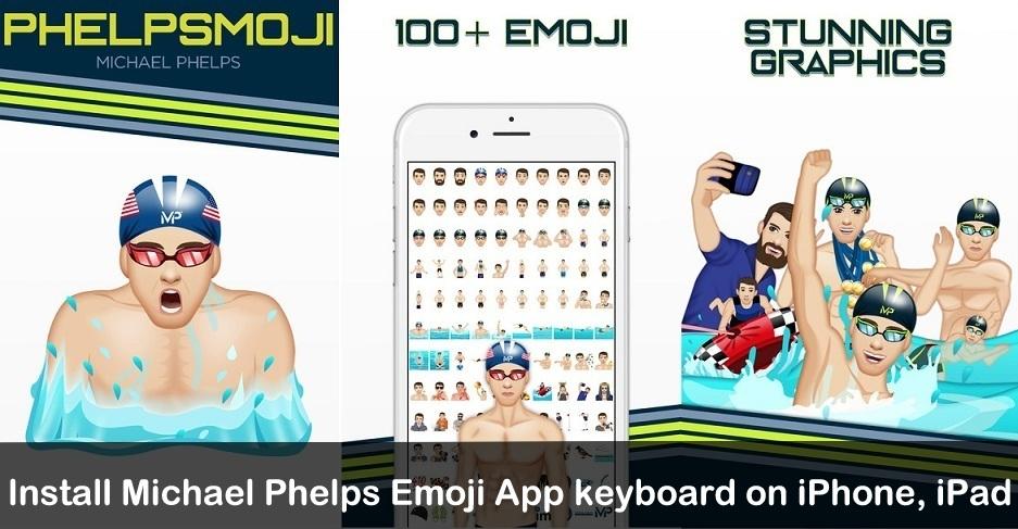 Install Michael PhelpsMoji keyboard on iPhone, iPad iOS 10, iOS 8, iOS 9