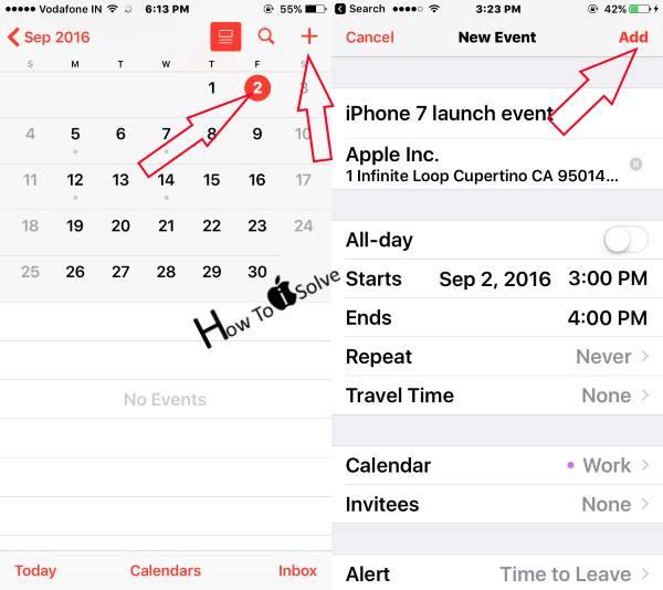 create a new or Add event in iPhone calendar iOS 10