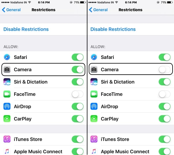 1 Stop or Disable camers access on lock screen iOS 10