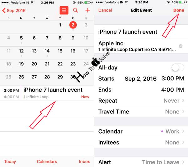 Edit Created Calender Event in iPhone iPad