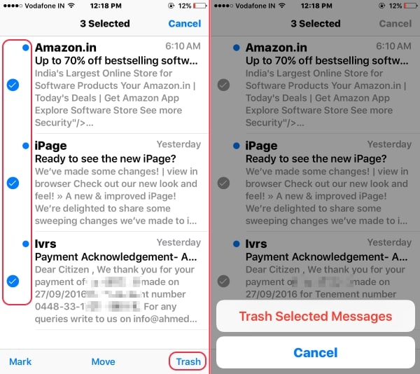 Move to trash all mails from inbox on iPhone mail app
