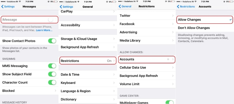 3 Disable Restriction on iMessage in iPhone 7 or 7 Plus