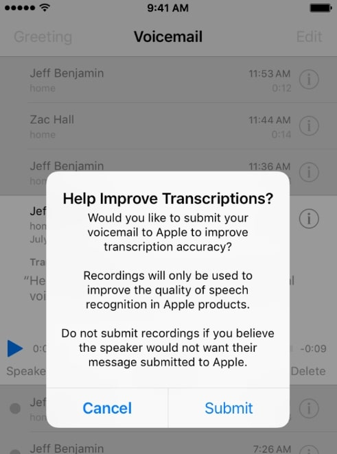 Report to apple about voicemail transcript from iPhone phone app