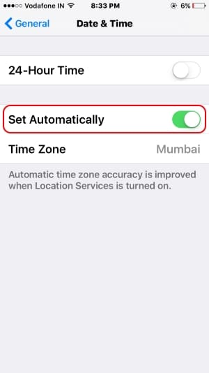 4 Set date auto schedule time on iPhone 7 or 7 Plus
