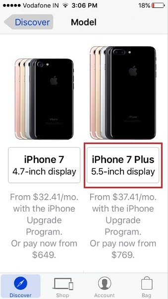 select iPhone model iPhone 7 or iPhone 7 Plus