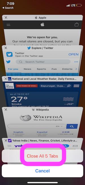 Close all tabs on iPhone safari