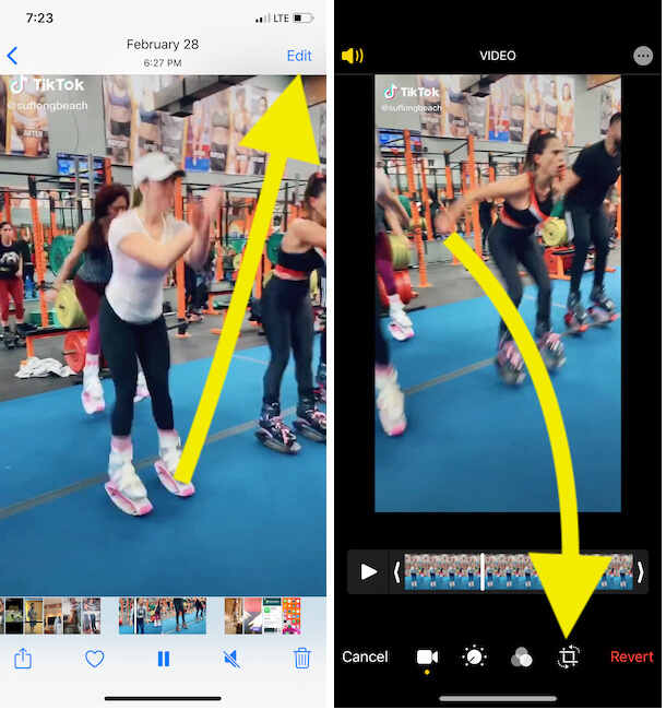 Edit video for Crop from iPhone photos app