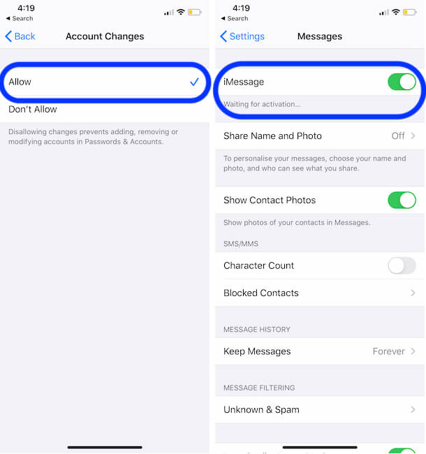 Enable Imessage changes from restrictions