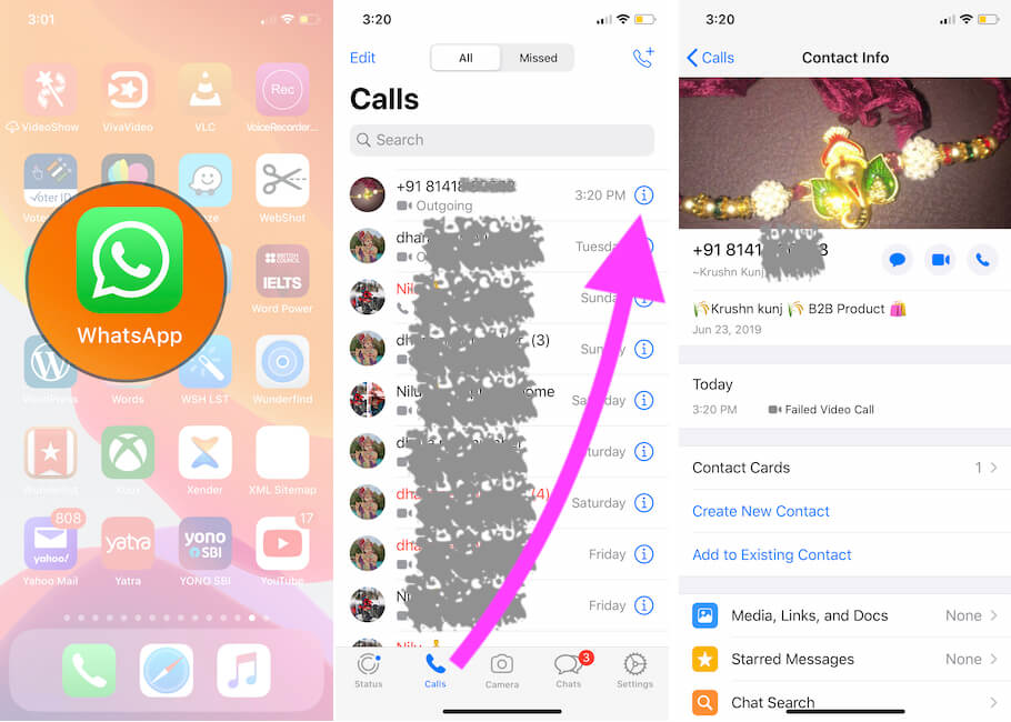 Open WhatsApp and Start Messaging from WhatsApp call history