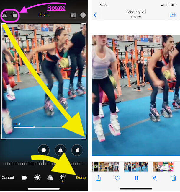 Select video by cropping it on iPhone photos app