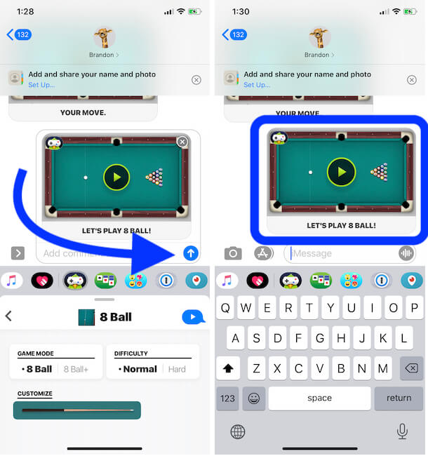 Take your Turn and Send to your Opponant on iMessage iPhone app