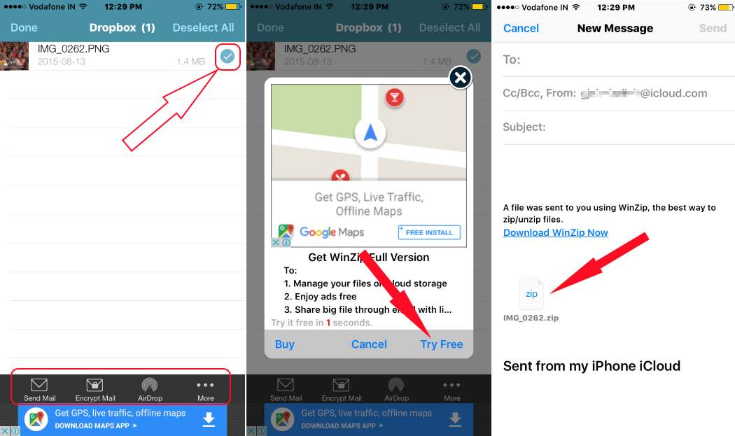 1 Send Mail after Zip Directly from iPhone or iPad