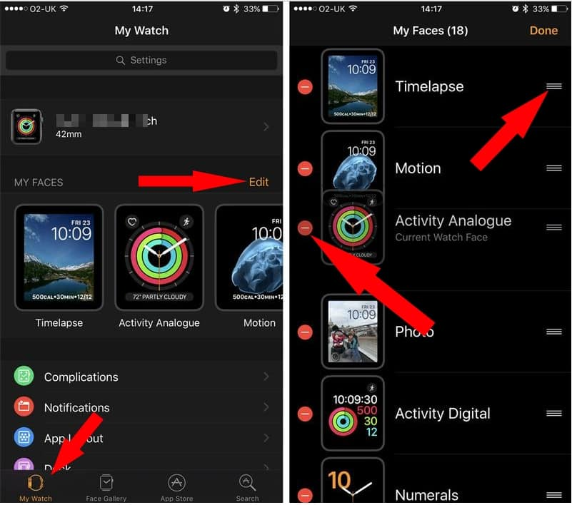 2 Re order or Delete Apple watch Faces in watchOS3 from iPhone watch app