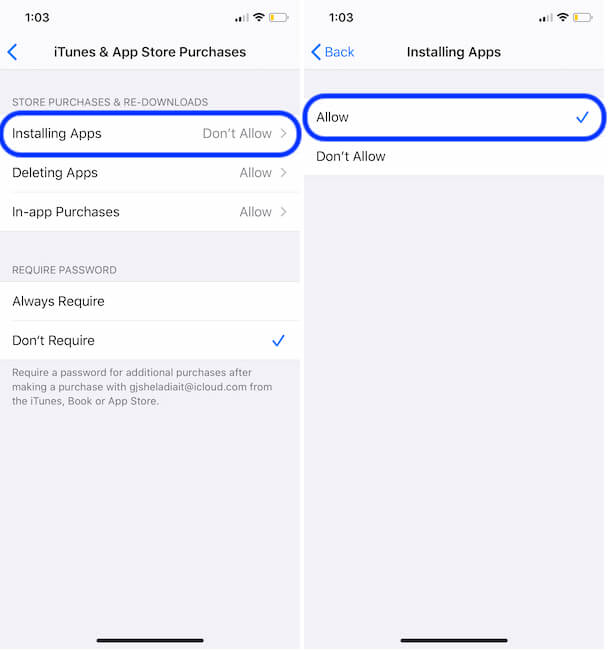 Allow app installing on iPhone